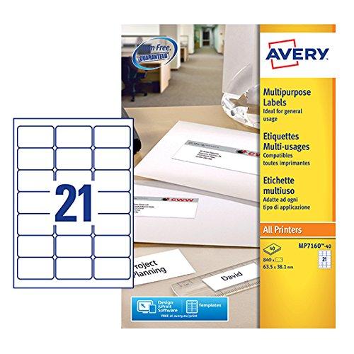 21 Labels Per A4 Sheet Avery Mp7160 40 Self Adhesive Multipurpose Labels