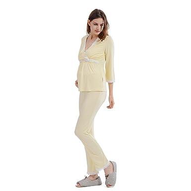12a1665e3 i-baby Camisón Lactancia Amamantando Conjunto de Pijamas Mujer Embarazada  de Manga Larga y Pantalon Largo para Premamá Maternidad  Amazon.es  Ropa y  ...