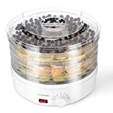 Flexzion Dehydrator for Food Fruit - Electric Food Saver Fruit Dehydrator Preserver Dry Fruit Dehydration Machine with 5 Stackable Tray