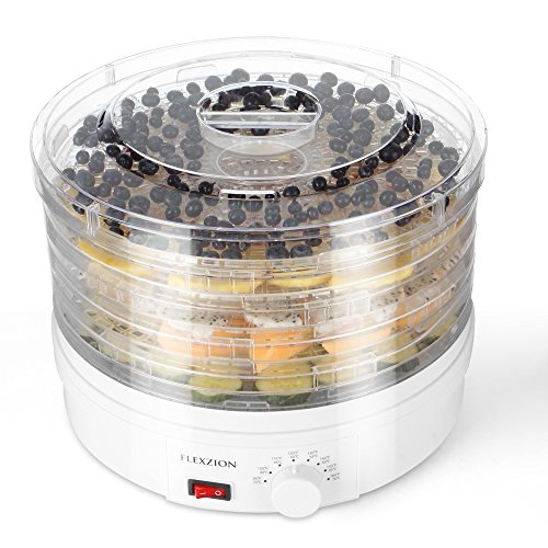 Flexzion Dehydrator for Food Fruit - Electric Food Saver Fruit Dehydrator Preserver Dry Fruit Dehydration Machine with 5 Stackable Tray ()