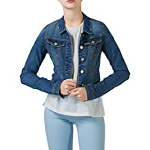 PERHAPS U Women's Denim Jacket Classic Long Sleeves Button Front Jean Tops
