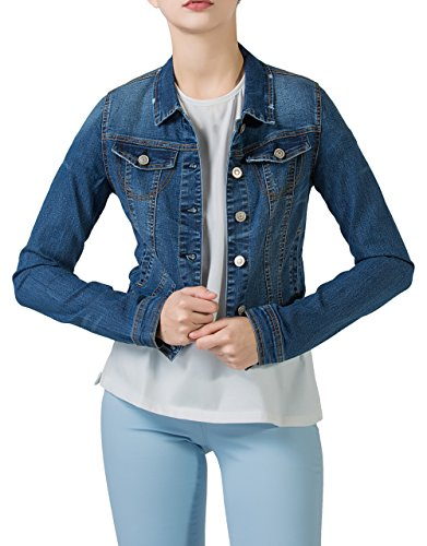 PERHAPS U Women's Short Cropped Denim Jacket Button Front Long Sleeves Jean Jackets for Women (XX-Large, Dark Blue) Button Denim Jacket