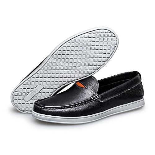 ZRO Black Leather Breathable Casual Slip Toe Shoes On Mens Loafer Moc vpxPqvwr