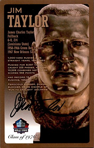 Jim Taylor LSU Packers Saints Signed NFL Hall Of Fame Bronze Bust Postcard /150 - NFL Cut Signatures ()