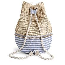 Rutledge & King Beach Backpack - Beach Bags for Women - Swim Backpack - Beach Bag - Beach Tote - Drawstring Gym Bag - Straw Beach Bag - Folding Backpack - Swimming Backpack (Sunnyside, Single)