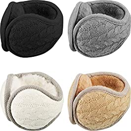 4 Pieces Knit Earmuffs Winter Warm Ear Warmers Ear Covers for Men Women Wear