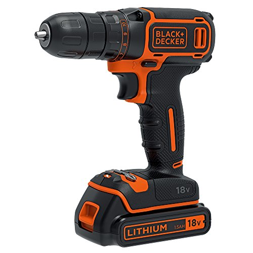 BLACK+DECKER 18 V Cordless Drill Driver with 1.5Ah Lithium Ion Battery