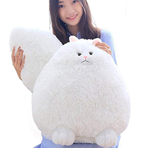 Plush Big Cat (Winsterch Giant Cat Stuffed Animal White Toy Kids Gift Baby Doll,Fluffy Plush,19.7 Inches)