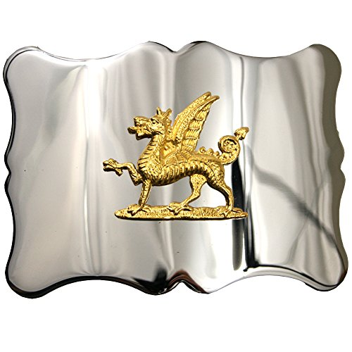 (USA Kilts Men's Welsh Dragon Kilt Belt Buckle Chrome and Gold Medieval)