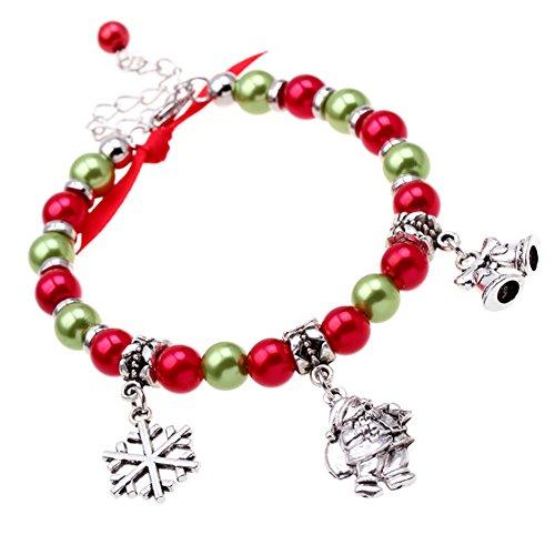 Snowman Beaded Charm (Wintefei Women's Xmas Santa Claus Deer Snowflake Snowmen Christmas Gift Bracelet Jewelry - Silver)