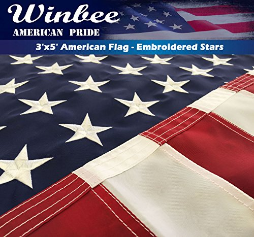 Collection 36 American (Winbee American Flag 2x3 ft - Embroidered Star and Sewn Stripes, Long Lasting Nylon US Flag Outdoor)