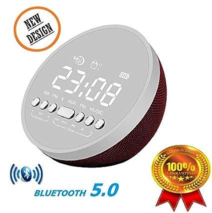Bluetooth Speaker Mini Portable Alarm Clock 5W Surround Sound Bass Subwoofer,Wireless,Hands Free Call,Radio,Mirror Function