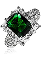 Bling Jewelry Simulated Emerald CZ Engagement Ring Rhodium Plated