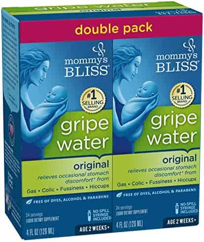 Mommy's Bliss Original Gripe Water for Baby's Tummy Trouble soothes Occasional Infant Stomach Discomfort from Gas and Colic, and Helps with Fussiness, and Hiccups, 4 fl oz bottle (2 Pack)