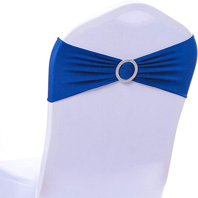 Calababy 20/50/100PCS Wedding Chair Decorations Stretch Chair Bows, Buckle Slider Sashes Bows Decorations (Royal Blue, 20PCS)