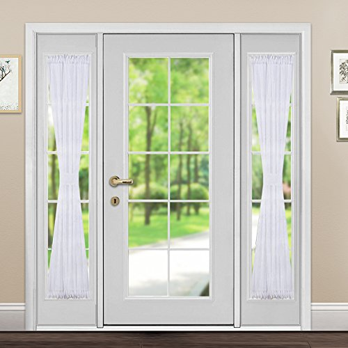 Sidelight Sheer Door Window Curtains - Rod Pocket Voile Curtain Panel in White for French Door by PONY DANCE - 30-Inch Wide and 72-Inch Long, Tieback Included (1 Piece) (Door Panel Curtain Side Rod)