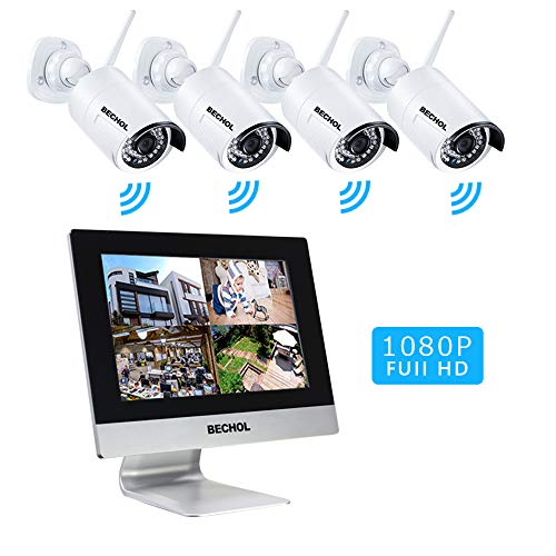 - Bechol 1080P HD Wireless Security Surveillance Camera System,4CH WiFi 10.1''LCD NVR Monitor,4pcs Outdoor/Indoor Waterproof Cameras,100ft Night Vision PIR Motion Detection No Hard Drive
