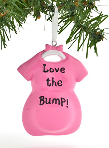 Personalized Christmas Ornament Love The Bump Baby Pregnancy Expecting Pink Picture