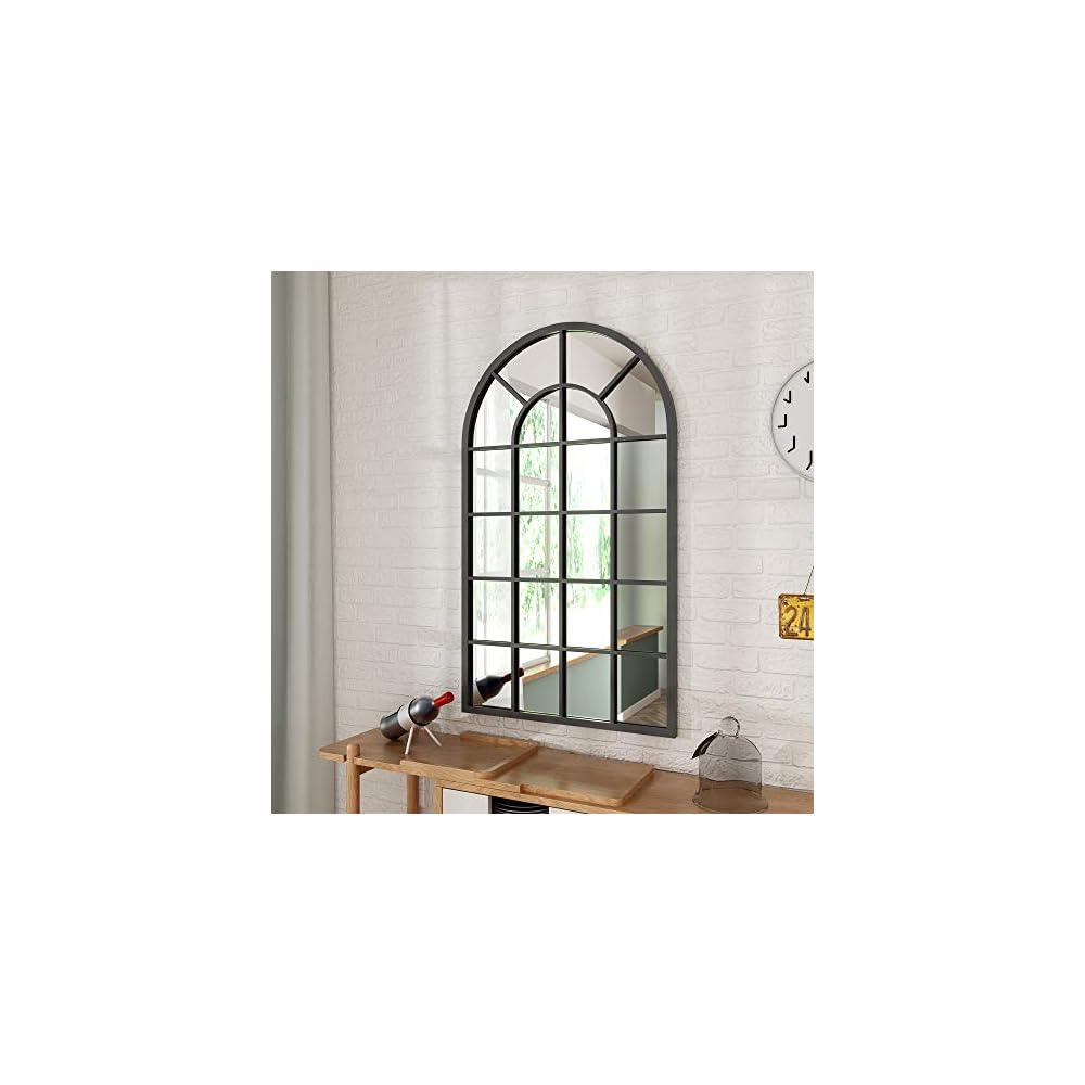 Black Arched Windowpane Wall Mirror - 26'' X 43'' Window Mirror for Wall