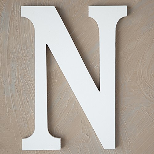 "The Lucky Clover Trading LBL14TW-N N Wood Block, 14"" L, White Wall Letter"