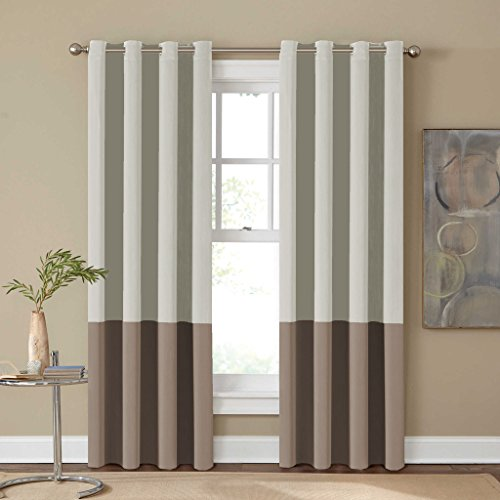 Turquoize 2 Panels Solid Blackout Drapes, Grommet/Eyelet Top Polyester Curtain, 2 x 52-Inch-by-84-Inch, Two Tones – Beige and Mushroom