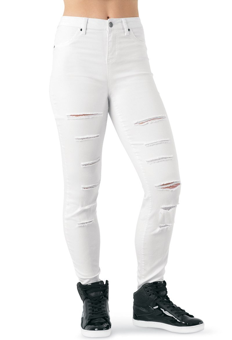 Balera Urban Groove Skinny Slashed Dance Jeggings White Adult Small by Balera