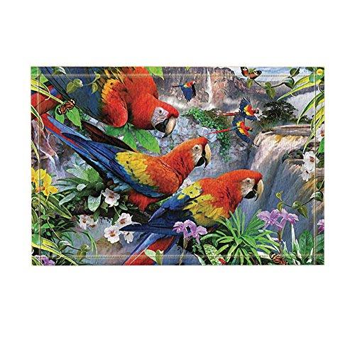 NYMB Exotic Birds Parrot Decor, Parrots on Branches with Flower Besides Waterfall Bath Rugs, Non-Slip Doormat Floor Entryways Indoor Front Door Mat, Kids Bath Mat, 15.7x23.6in, Bathroom ()