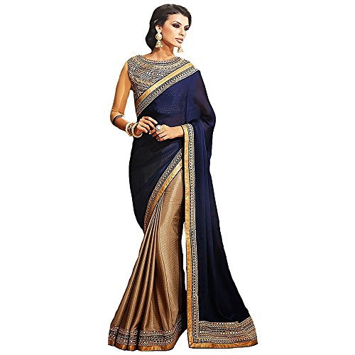 (Shree Designer Sarees Women's Repute Brown & Navy Blue Georgette On Silk Saree)