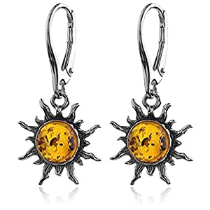 Amber Sterling Silver Flaming Sun Leverback Earrings