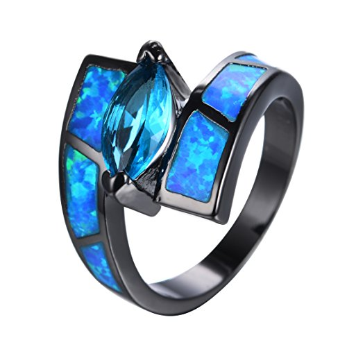 10 KT Black Gold Blue Opal Ring , A large Blue Horse Eyes Cz Only For Girl Or Women (7)