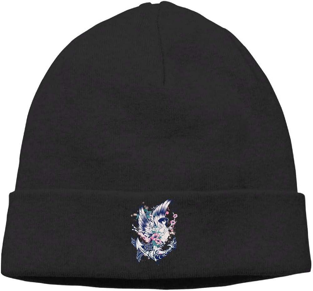 Funny Flower Bird Fish Anchor Skull Hats Knit Hats Men Black