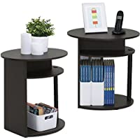 Round End Table Set of 2 Coffee Table With Storage Area Side Table With Under Storage Shelf Room Décor End Table Espresso finish Cocktail Table Nightstand Set of 2 End Tables with shelves