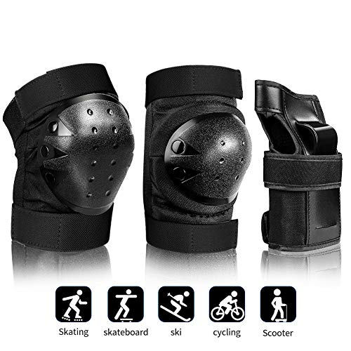 AILUNHUA Adult/Youth/Kids Protective Gear Set for Skateboarding/Rollerskating/Scooter/Cycling Men&Women&Boys&Girls Children 3 in 1 Knee Pads Elbow Pads Wrist Guards (Gear Skate Protective)