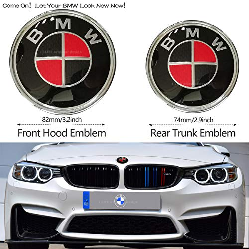 2pcs Carbon fiber BMW Red and Black Hood Emblem 82mm/Trunk Emblem 74mm, Emblems Replacement for BMW X3 X5 X6 3 4 5 6 7 8 Series 325i 328i E46 E30 E36 E34 E38 E39 E60 E65 E90 (Black Carbon Fiber Bmw Emblem)