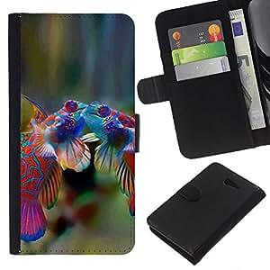 All Phone Most Case / Oferta Especial Cáscara Funda de cuero Monedero Cubierta de proteccion Caso / Wallet Case for Sony Xperia M2 // Fish Cute Love Tropical Coral Diving Sea