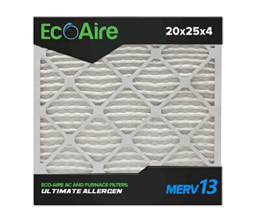 Eco-Aire 20x25x4 MERV 13, Pleated Air Filter, 20x25x4, Box of 6, Made in the USA by Aerostar