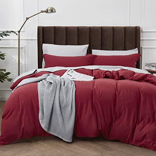 Bedsure Washed Duvet Cover Set King Size with Zipper Closure, Ultra Soft Hypoallergenic Comforter Cover Sets 3 Pieces (1 Duvet Cover + 2 Pillow Shams), Burgundy, 104X90 inches