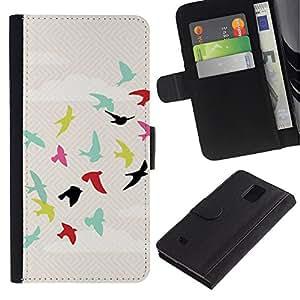UberTech / Samsung Galaxy Note 4 SM-N910 / Birds Teal Sky Free Flight Green / Cuero PU Delgado caso Billetera cubierta Shell Armor Funda Case Cover Wallet Credit Card