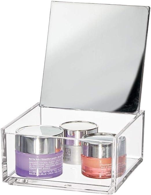 mDesign Caja de maquillaje pequeña con espejo – Organizador de ...
