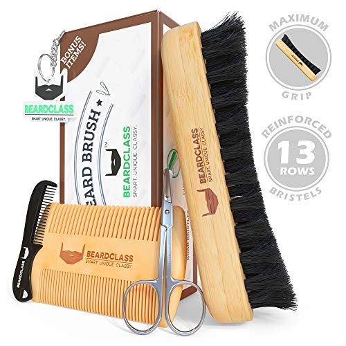BEARDCLASS Organic Bamboo Beard Brush and Wooden Comb Kit Set - 4 in 1 Beard Grooming Kit Care Set with Dual Sided Comb & Boar Bristle Beard Brush - Mustache Comb and Scissors Include Gift Kit For Men (Grooming 1 4in Comb)