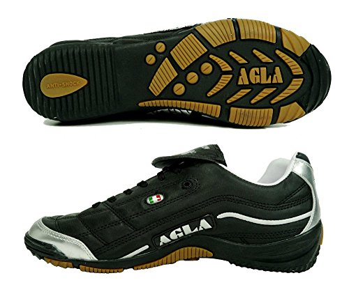 AGLA - Zapatillas de fútbol sala para hombre Negro negro/plata