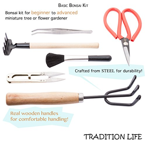 durable service Tradition Life 6 Piece Steel & Wood Bonsai Tree Tool Kit
