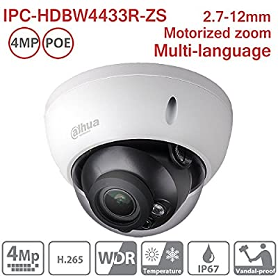 Dahua 4MP Dome IP Camera IPC-HDBW4433R-ZS 2.7-12mm Motorized Varifocal IP PoE IR Indoor Network Camera ONVIF H.265 IP67 International Version by Hansen
