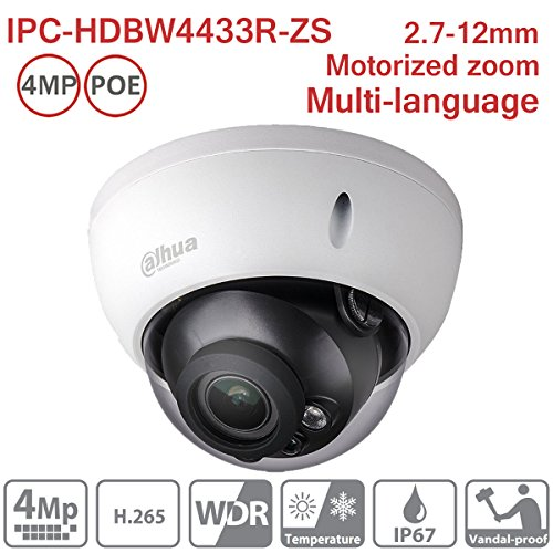 Dahua IP Camera IPC-HDBW4433R-ZS 4MP Dome 2.7-12mm PoE IR Network Indoor Security Camera ONVIF H.265 IP67 International Version by Hansen