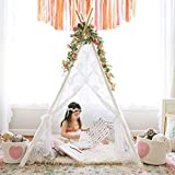 Kids Teepee Tent Girls Play Tent Indoor Outdoor Lace Tipi Children Room Decor , 5' Boho Lace Tent