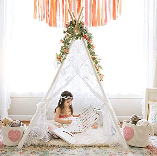 Kids Teepee Tent Girls Play Tent Indoor Outdoor Lace Tipi Children Room Decor , 5' Boho Lace Tent by Tiny Land