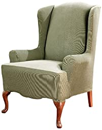 Sure Fit Stretch Stripe - Wing Chair Slipcover  - Sage (SF37757)
