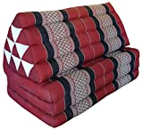 Thai triangle cushion/mattress XXL, with 3 folding seats, burgundy/red, sofa, relaxation, beach, pool, meditation, yoga, made in Thailand. (82318)