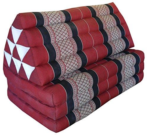 Thai triangle cushion/mattress XXL, with 3 folding seats, burgundy/red, sofa, relaxation, beach, pool, meditation, yoga, made in Thailand. (82318) by Wilai GmbH