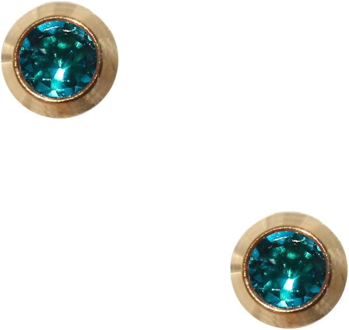 Erst Pendientes Dorados de acero quirúrgico estériles Pendientes Aro con piedra en color turquesa